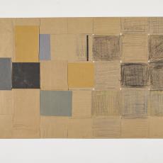 Collage van vlechtwerk van lichtbruine stroken papier - Herman Scholten, Lange, Tommy de, Lange, Tommy de