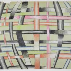 ontwerptekening van gevlochten stroken met rechte en gebogen lijnen - Herman Scholten
