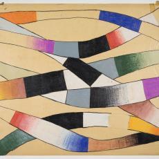 ontwerptekening van gebogen stroken in open structuur - Herman Scholten