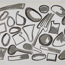 Ontwerptekening met vork en lepel in grijs en antraciet - Lange, Tommy de, Herman Scholten