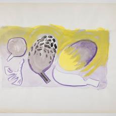 Ontwerptekeningen in geel, paars, antraciet voor stillevens met fruit - Herman Scholten, Lange, Tommy de, Lange, Tommy de