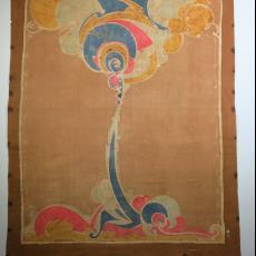 Gebatikte doek met Art Nouveau motieven - Willy La Croix, Textielmuseum (registratiefoto), Textielmuseum (registratiefoto)