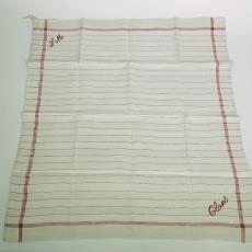 Droogdoek met ingeweven naam 'CLOSETDOEK' - Textielmuseum (registratiefoto), Textielmuseum (registratiefoto)