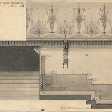 Ontwerptekening interieur bioscoophal - Sikko van der Woude