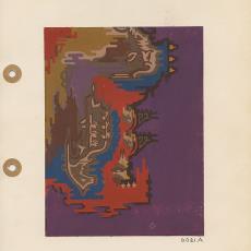 Presentatietekeningen voor Darrab tapijt, dessin 6021A, 6021B en 6021C - Koninklijke Vereenigde Tapijtfabrieken (Deventer), Jaap Gidding