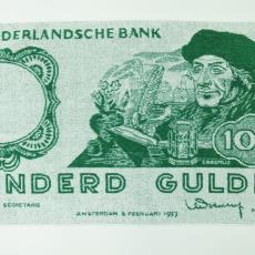 Badhanddoek 'De Nederlandsche Bank, Honderd Gulden' - Textielmuseum (registratiefoto), Seahorse Stork (Hengelo)