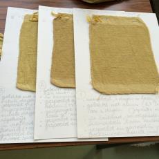 Verfproeven voor het werk 'Vezels, bindingen en verfplanten' - kunstenaar, Nan Groot Antink, Textielmuseum