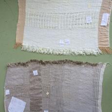 Bindingsproeven voor het werk 'Vezels, bindingen en verfplanten' - kunstenaar, Nan Groot Antink, Textielmuseum
