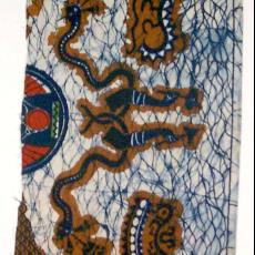 Doek met slingerlijnmotief (imitatiebatik) - Textielmuseum (registratiefoto), Ankersmit's Textielfabrieken (Deventer), Textielmuseum (registratiefoto)