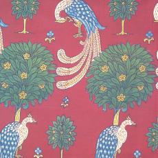 Kledingstof siervogels tussen bomen - Textielmuseum (registratiefoto), P.F. van Vlissingen & Co. (Helmond)