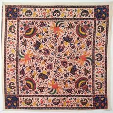 Hoofddoek met batikmotieven - P.F. van Vlissingen & Co. (Helmond), Textielmuseum (registratiefoto)