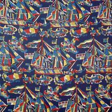 Staal kledingstof met boot, vogel, vis - P.F. van Vlissingen & Co. (Helmond)