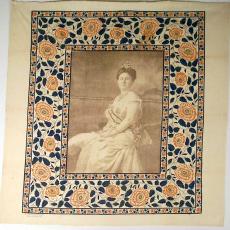 Gedenkdoek Koningin Wilhelmina, ter gelegenheid van haar 25-jarig regeringsjubileum - Textielmuseum (registratiefoto), Leidsche Katoen Maatschappij (Leiden)