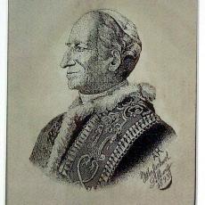Geweven portret Paus Leo XIII - Textielmuseum (registratiefoto), Weefschool Tilburg