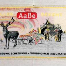 Textieletiket AaBe wollen dekens - Van Engelen & Evers (Heeze), Koninklijke AaBe Wollenstoffen- en Wollendekenfabrieken (Tilburg), Textielmuseum (registratiefoto)