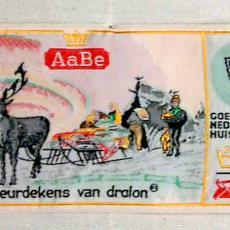 Textieletiket AaBe dralondekens - Van Engelen & Evers (Heeze), Koninklijke AaBe Wollenstoffen- en Wollendekenfabrieken (Tilburg), Textielmuseum (registratiefoto)
