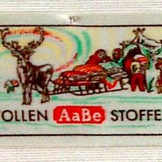Textieletiket AaBe wollen stoffen - Van Engelen & Evers (Heeze), Koninklijke AaBe Wollenstoffen- en Wollendekenfabrieken (Tilburg), Textielmuseum (registratiefoto)