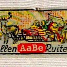Textieletiket AaBe wollen ruiten - Van Engelen & Evers (Heeze), Koninklijke AaBe Wollenstoffen- en Wollendekenfabrieken (Tilburg), Textielmuseum (registratiefoto)