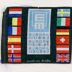 Textieletiket AaBe 'Europa Meubel' - Textielmuseum (registratiefoto), Koninklijke AaBe Wollenstoffen- en Wollendekenfabrieken (Tilburg)