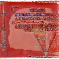 Drukplaat uit twee delen met logo A&N Mutsaerts, etiketten Zuid Afrika - Textielmuseum (registratiefoto), Textielmuseum (registratiefoto), Joh. Enschedé & Zonen (Haarlem)