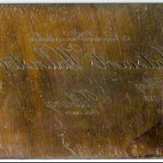 Drukplaat met tekst A&N Mutsaerts met schrijfletters - Joh. Enschedé & Zonen (Haarlem), Textielmuseum (registratiefoto), Textielmuseum (registratiefoto)