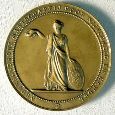 Koperen jubileumpenning ged. 7-1-1946 - 7-1-1971 op naam van L.N.A. Spierings - Koninklijke AaBe Wollenstoffen- en Wollendekenfabrieken (Tilburg), Textielmuseum (registratiefoto), Textielmuseum (registratiefoto)