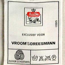 Textieletiket AaBe voor V&D - Textielmuseum (registratiefoto), Koninklijke AaBe Wollenstoffen- en Wollendekenfabrieken (Tilburg), Van Engelen & Evers (Heeze)