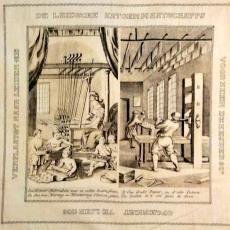 Gedenkdoek met twee prenten - Textielmuseum (registratiefoto), Leidsche Katoen Maatschappij (Leiden)