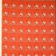 Textieletiketten 'The Swallow' van firma Menco, Groningen - Van Engelen & Evers (Heeze), Textielmuseum (registratiefoto)
