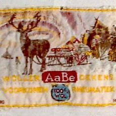 Textieletiket AaBe wollen dekens - Textielmuseum (registratiefoto), Koninklijke AaBe Wollenstoffen- en Wollendekenfabrieken (Tilburg)