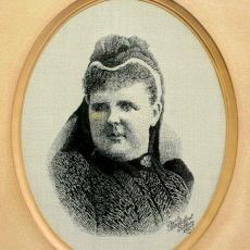 Geweven portret van H.M. de Koningin-Regentes Emma - Weefschool Tilburg, Textielmuseum (registratiefoto)