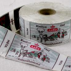 Textieletiket AaBe wollenstof waterafstotend - Van Engelen & Evers (Heeze), Textielmuseum (registratiefoto), Koninklijke AaBe Wollenstoffen- en Wollendekenfabrieken (Tilburg)