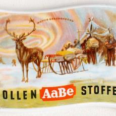 Reclamebord AaBe Wollen Stoffen - Koninklijke AaBe Wollenstoffen- en Wollendekenfabrieken (Tilburg), Textielmuseum (registratiefoto)