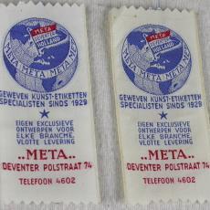 Etiket Meta te Deventer - Meta, Textielmuseum (registratiefoto)