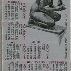 Geweven kalender 1959 Van Engelen & Evers, Heeze - Van Engelen & Evers (Heeze), Textielmuseum (registratiefoto)