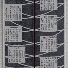 Geweven kalender 1962 Van Engelen & Evers, Heeze - Textielmuseum (registratiefoto), Van Engelen & Evers (Heeze)