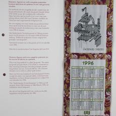 Nieuwjaarskaart met geweven decoraties - Van Engelen & Evers (Heeze), Textielmuseum (registratiefoto), Textielmuseum (registratiefoto)
