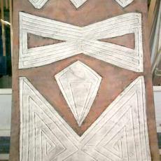 Gordijnstof met geometrische figuren - Ella Koopman, Textielmuseum (registratiefoto), Textielmuseum (registratiefoto)