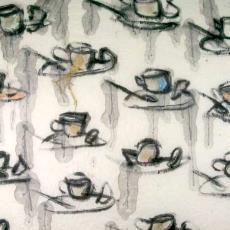 Gordijnstof 'Kopje koffie' - Maarten Vrolijk