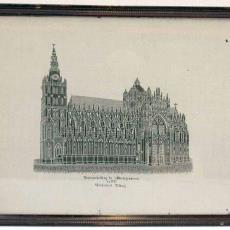 Proefstuk met voorstelling van de St. Jans kathedraal te 's-Hertogenbosch - Textielmuseum (registratiefoto), Weefschool Tilburg