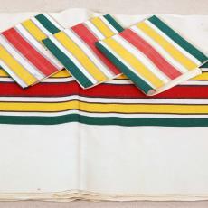 Tafellaken ecru met gekleurde banen - Textielmuseum (registratiefoto), W.G.J. Ramaer & Co. (Helmond)
