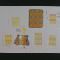 Garen- en kleurproeven voor tapijt Paleis Noordeinde, Den Haag - Ria van Eyk, Van Besouw (Goirle), Textielmuseum (registratiefoto), Textielmuseum (Frans van Ameijde / Joep Vogels)