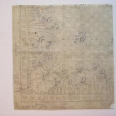 Ontwerptekening damast met patroon van margrieten - Textielmuseum (registratiefoto), Linnen- en damastweverij A. Louwers (Meerveldhoven)