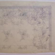 Ontwerptekening damast met bloemmotieven - Linnen- en damastweverij A. Louwers (Meerveldhoven), Textielmuseum (registratiefoto)