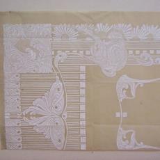 Ontwerptekening damast met vlinder en margrieten - Linnen- en damastweverij A. Louwers (Meerveldhoven), Textielmuseum (registratiefoto)