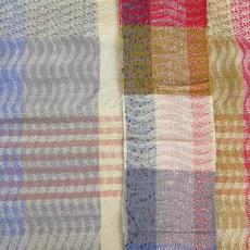 Staal voor huishoudgoed (?) met blok- en golfpatroon - Handweverij en Ontwerpatelier K. v.d. Mijll Dekker (Nunspeet), Textielmuseum (registratiefoto), Kitty van der Mijll Dekker (Fischer-)