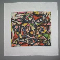 Sjaal 'zonder titel' - Texoprint (Boekelo), Theo Wolvecamp, Textielmuseum (registratiefoto), Textielmuseum (registratiefoto)