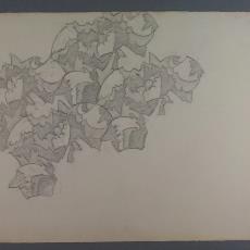 Ontwerp met abstracte tekening in zwart-wit - Textielmuseum (registratiefoto), Reijer Stolk (Johan Antonie)