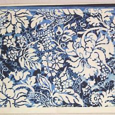 Trijpontwerp met traditioneel bloemenpatroon - Textielmuseum (registratiefoto), Eindhovensche Trijpfabrieken Schellens & Marto