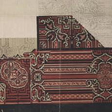Ontwerp- of patroontekening voor trijp 'Bochara' - Nestor, C.A. Lion Cachet, Textielmuseum (registratiefoto), Eindhovensche Trijpfabrieken Schellens & Marto